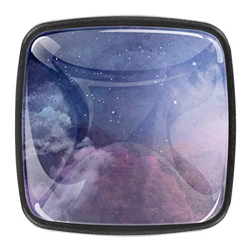 4 pomos negros para cajón de cocina, baño, armario, armario, Galaxy Starry Sky