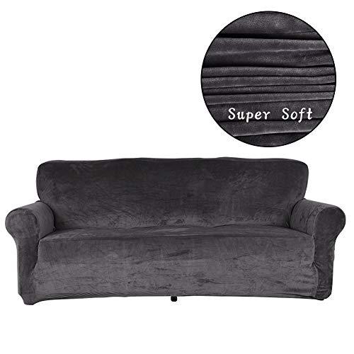 OSVINO 1/2/3/4 Sitzer Sofaüberzug Sofabezug Relaxsesselhusse Couchbezug Sofaschutz Plüsch weich Stretch für Sofa Sessel Couch, Grau, 4 Sitzer 235-280cm