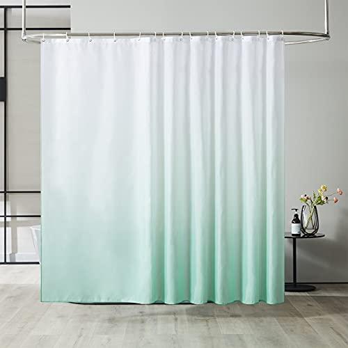 Furlinic Duschvorhang Überlänge Badvorhang Anti-schimmel für Dusche & Badewanne in Bad Textile Gardinen aus Stoff Antibakteriell Wasserdicht Weiß nach Grün Extra Breit 240x200cm mit 16 Haken.