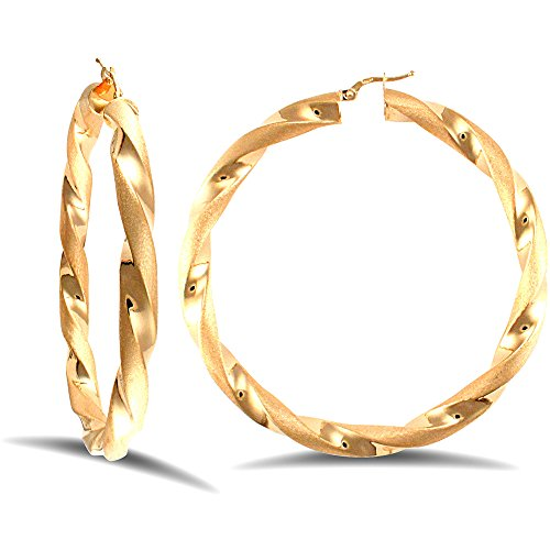 Jewelco London Ladies 9ct Yellow Gold Frosted Satin Chunky Twist 6mm Hoop Earrings 70mm