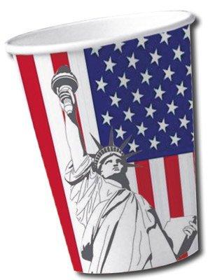 DH-Konzept 10 Becher * USA * für Party und Geburtstag Pappbecher Partybecher Kinder Geburtstag Party Fete Set Freiheitsstatue Amerika Cups