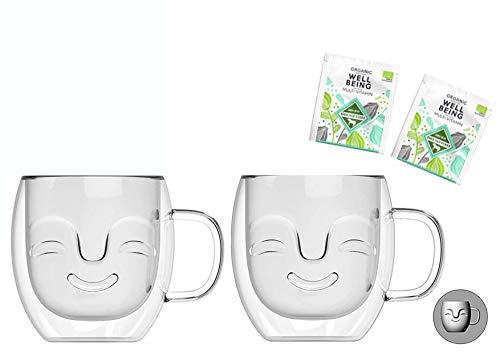 Theeset: 2 x 390 ml thermobekken + 2 x bio-thee (gratis) – dubbelwandige kopjes met lachen gezicht, 2 x bio-theezakje van Feelino