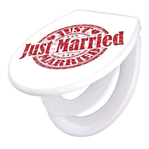 banjado Familien WC Sitz mit Absenkautomatik   Toilettendeckel mit Kindersitz   Klodeckel weiß   Toilettensitz mit Soft Close   44 x 37 cm WC Deckel mit Motiv Just Married Stempel