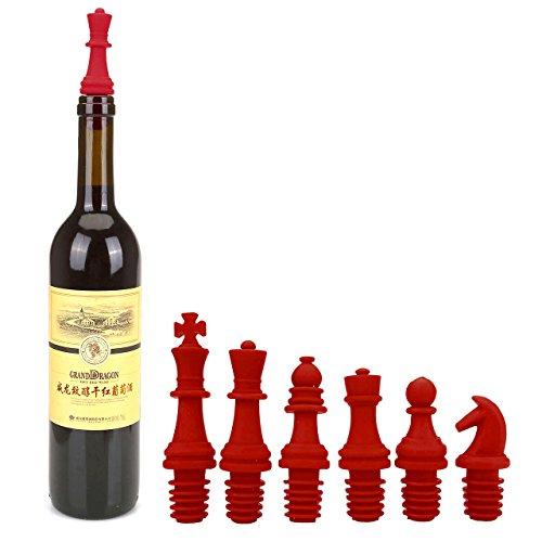 Mogoko Wein Flasche Stopper Set von 6 Schach Stil Chess Form aus Silikon Wein Stopper für rot Wein, Bier, Getränk, Öl Flaschenstopfen Verschluss Stopfen (Rot)