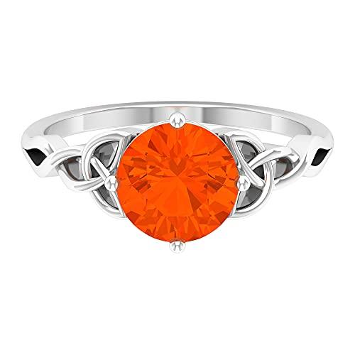 Anillo solitario grande, anillo solitario de piedras preciosas, oro blanco, Metal precioso. Piedra preciosa. Piedra, Diamante negro creado en laboratorio,