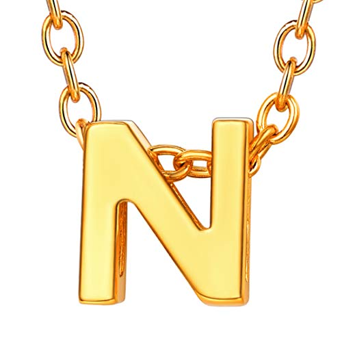 U7 イニシャルネックレスN レディース 18金メッキ ゴールド ペアネックレス シンプル 小さめ 鏡面 おしゃれ 大人可愛い アクセサリー 母の日プレゼント