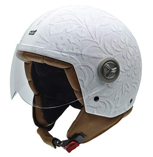 NZI 3D Vintage II Brocado White Casco de Moto, Fotografía Tejido Brocado Blanco, S