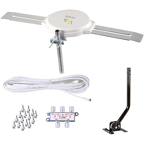 LAVA HD8008 Omnidirectional 360 Degree HD TV 4K Omnipro TV Antenna OmniPro HD-8008 + Installation Kit & FiveStar TV Antenna Jpole