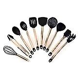 Juego de utensilios de cocina – 11 piezas de silicona antiadherente, resistente al calor, utensilios de cocina con mango revestido de cobre