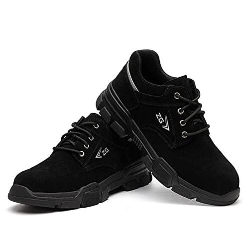 Zapatos de trabajo de seguridad para hombres y mujeres, antideslizantes, ligeros, transpirables, de construcción indestructibles, cómodos, puntera de acero, negro, 10
