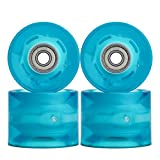 NONMON 4Pcs Cruiserboard Skateboard Rollen 60mm 78A mit 8Pcs Kugellager 608RS ABEC-9,LED Ersatz Räder Set Kit,Replacement Wheels Bearings für Longboard Snakeboard Pennyboard Fishboard,Blau