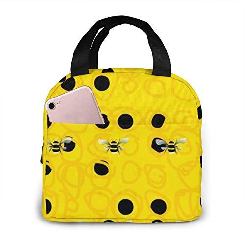 Hdadwy Bumble Bees Bolsa de almuerzo portátil de fácil limpieza Resistente al agua Enfriador de almuerzo con aislamiento Caja de asas para viajes/picnic/trabajo Tamaño: 8.5 'x 8.0 'x 5.0'