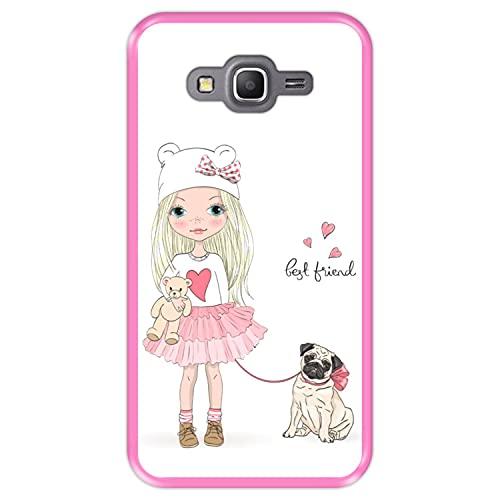 Hapdey Custodia per [ Samsung Galaxy Grand Prime G530 ] Disegni [ Migliore Amico, Best Friend ] Cover Guscio in Silicone Flessibile Rosa TPU