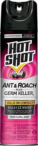 Hot Shot Ant Roach Plus Germ Killer Fresh Floral Scent Aerosol 17 5 Ounce 6 Pack product image