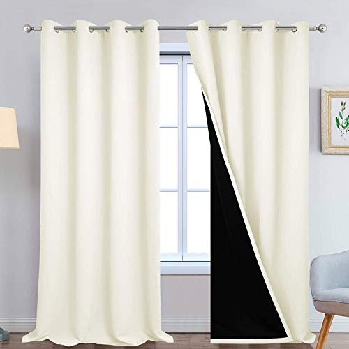 Yakamok 100% Blackout Window Curtain Panels, Heat and Full Light Blocking Drapes with Black Liner for Nursery, 108 inches Drop Thermal Insulated Draperies (Cream, 2 Pieces, 52 Inch Width)