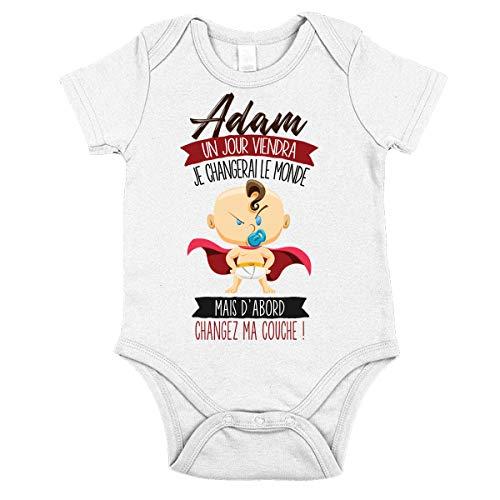 Adam | Un jour je changerai le monde | Body avec manche pour bébé garçon 18-24 mois