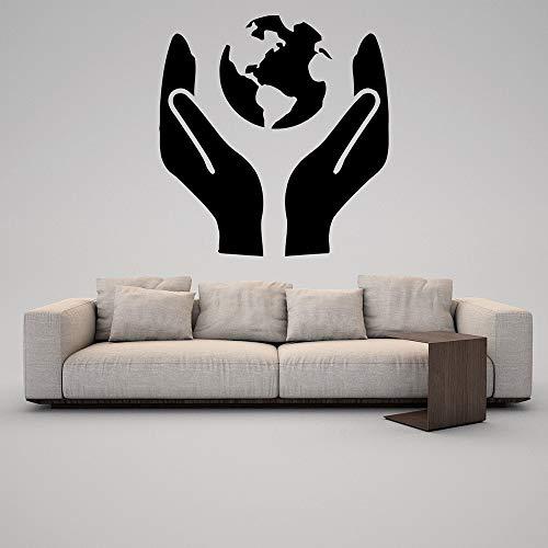 HGFDHG Proteger la Tierra calcomanía de Pared Silueta Planeta Verde geografía Vinilo Pegatina Salvar el Mundo Mural Oficina Escuela decoración Interior