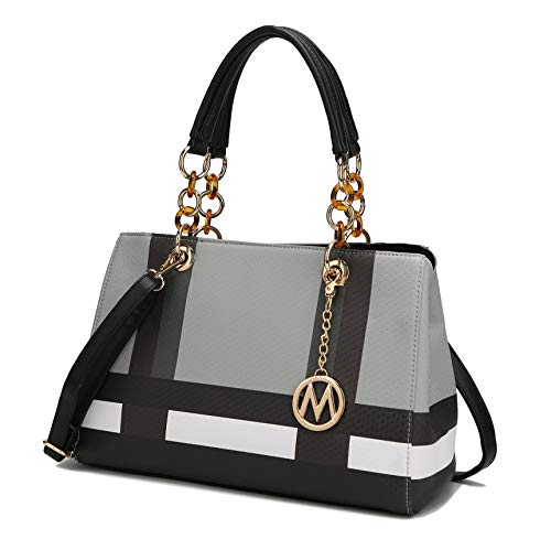 MKF Crossbody Satchel Tote Handbag for Women, Shoulder Bag Strap – PU Leather Pocketbook – Top Handle Woman Purse Black