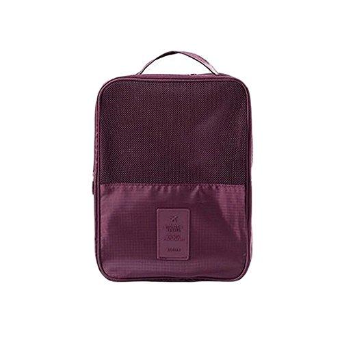 Mehrfarbige Schuhaufbewahrung, Reisetasche, wasserdichte Organizer-Tasche mit Reißverschluss, Rot (weinrot), Einheitsgröße