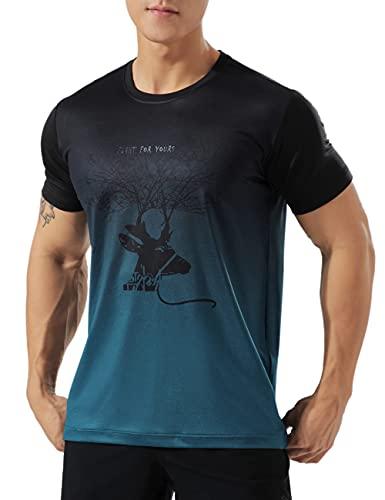 GYMAPE Hombre Atlético Camiseta de Entrenamiento Transpirable Cómodo Musculación Camisetas para Correr Entrenamiento Secado rápido Gimnasio Ropa de Deporte