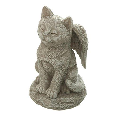 Trauer-Shop Kleine Katzen Figur hockend auf Stein, geschlossene Augen, Engelsflügeln. H 11cm. 1 Stück