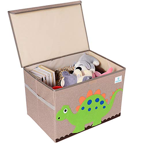BEARCUBS Kids Foldable Toy Chest - Storage and Organization Toy Box with Lid Organizer Trunk for Nursery Playroom - Cute Animal Decor for Boys and Girls Large Toy Bin (Dinosaur)