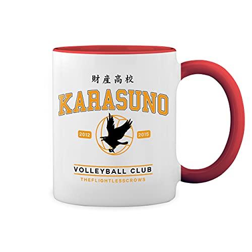 Karasuno High School Shield Blanco Taza Aro y Mango Con Rojo Mug