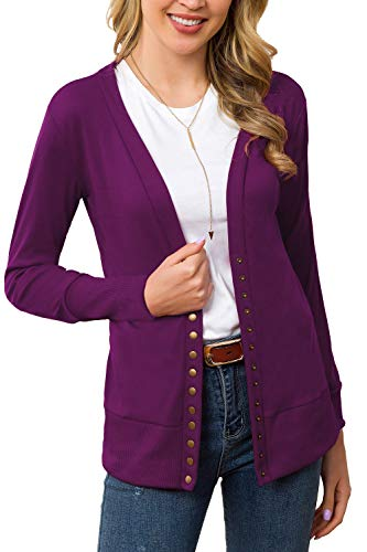Women's S-3XL Solid Button Front Knitwears Long Sleeve Casual Cardigans Plum M