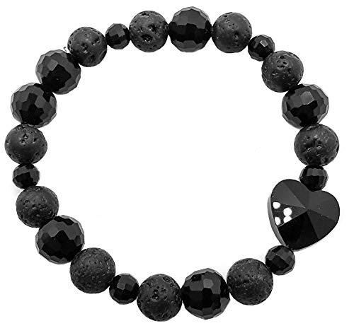 Pulsera elástica para hombre y mujer, con piedras preciosas naturales de 8 mm, para reiki, idea de regalo de cumpleaños, original difusor de energía para curar el equilibrio Lava y oxidiana.