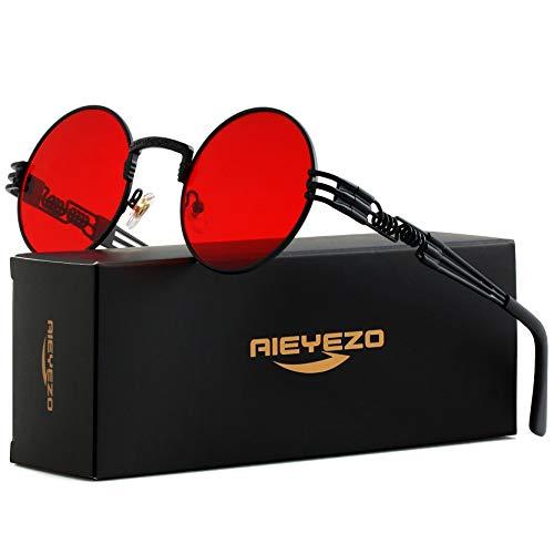 Round Steampunk Sunglasses John Lennon Hippie Glasses Metal Frame 100% UV Blocking Lens (Black/Ocean Red)
