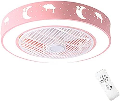 Lámpara De Techo Redonda Ventiladores de techo con lámpara Con LED Y Control Remoto Lámparas de techo para sala de estar Dormitorio Habitación infantil (Rosa 55 Cm)
