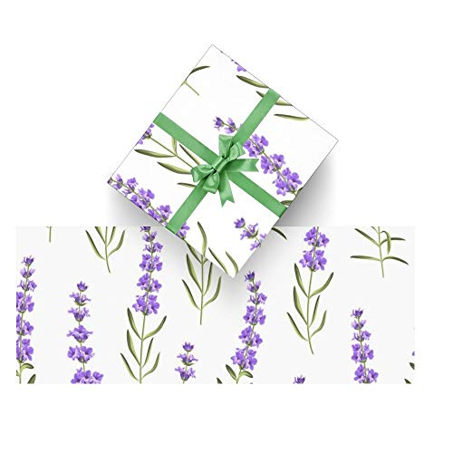 Wrapping Paper Purple Lavender Flowers for Christmas,Birthday,Valentines Day,Bridal or Baby Showers Gift- 3Rolls - 58inch x 23inch Per Roll