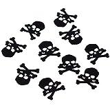 Manshui 60g 700 Stücke Lustige Schwarze Schädel Tischstreuung Konfetti Pirat Crossbones Form Sprinkles für Halloween, Geburtstag, Party, Warnschild Mark Dekoration (Schwarzer Piratenschädel) - 4