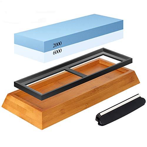 Abziehstein Schleifstein Set, Zacfton Wetzstein mit 2000/6000 Körnung für Messer, mit Messer schärfen und Gummi-Steinhalter sowie Bambus Basis und Messer-Halter