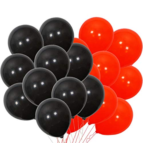 PMLAND 100 Pieces Balck and Red Latex Party Balloons 12 Inches