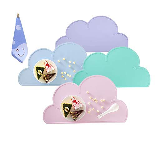 Silikon Baby Tischsets, Alldo rutschfeste waschbare wasserdichte schöne Wolkenform Kleinkind Tischmatte für Esstisch Baby Futtermatte Geschirr für Kinder (Grün + Blau + Pink + Lila)
