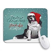 ECOMAOMI 可愛いマウスパッド グリーンクロースクリスマスボーダーコリー赤犬サンタ動物滑り止めゴムバッキングコンピュータマウスパッド用ノートマウスマット