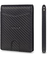 TOMULE Slim RFID Wallet for Men with Money Clip, Men's Leather Credit Card Holder Wallet with Gift Box, 10 Cards + Coin Pocket