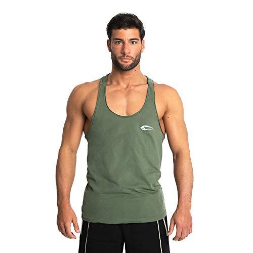 Herren Stringer Dean | Muskelshirt mit Aufdruck für Sport Gym Fitness & Bodybuilding | Muscle Shirt | Tank Top | Unterhemd | Achselshirt | Trainingshirt Kurzarm, Größe:L, Farbe:Olive