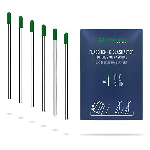 Edelstahl Flaschenhalter und Glashalter für Geschirrspüler/Spülmaschine mit grünen Kappen - Set Bierliebhaber - absolut kratzfrei - ersatzteilshop basics