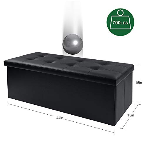 Camabel Folding Ottoman Storage Bench Cube 44 inch Hold up 700lbs Faux Leather Long Chest with Memory Foam Seat Footrest Padded Upholstered Stool for Bedroom Box Bed Coffee Table Rectangular Black