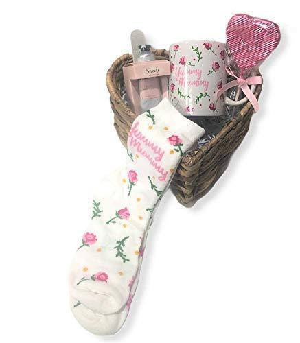 MK Living - Juego de regalo de cumpleaños de mamá con forma de corazón y calcetines (6 unidades)