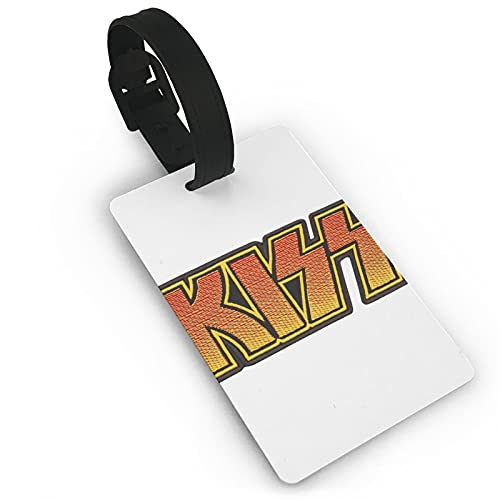 Kiss Rock Band etiqueta de equipaje de cuero personalizado maleta Tag Set etiquetas de identificación de equipaje etiquetas de viaje accesorios