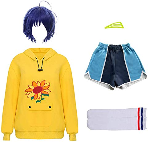 acsefire Wonder Egg Priority Cosplay Kostüm Ohto Ai Kapuzenpullover Kurze Hose Perücke Set für Halloween Anime Party Cos Kapuzenpullover Set