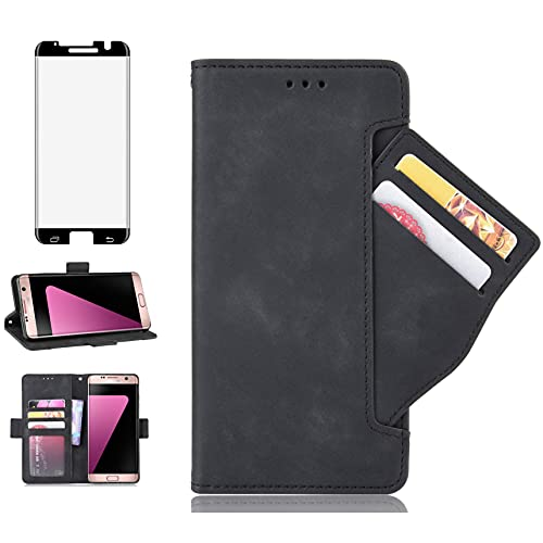 Asuwish Compatible with Samsung Galaxy S7 Edge Case and Tempered Glass Screen Protector Cover Card Holder Slot Kickstand Flip Wallet Phone Cases for Glaxay S7 S7edge Gaxaly S 7 Plus GS7 7s 7edge Black