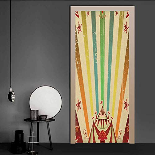 Door Stickers Decor Old Circus Carnival Advertisement Theme Stripes Stars and Fun Fair Tent 3D Door Stickers Murals for Walls Home Room Bedroom Office Decoration Multicolor 43.5x200 CM