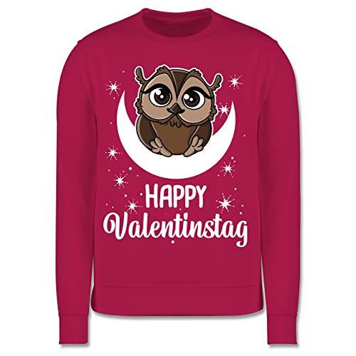 Shirtracer Anlässe Kinder - Happy Valentinstag mit Eule - weiß - 128 (7/8 Jahre) - Fuchsia - Geschenk - JH030K - Kinder Pullover