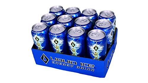 Liquid Ice Blue Energy Drink 16oz, 12Count