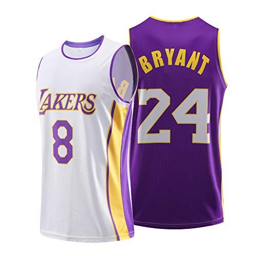 SYXBB-Lampe Camiseta de Baloncesto de la NBA Lakers 8# 24# Kobe Bryant Jerseys, Arriba Maillot clásico Uniforme de Baloncesto de los Hombres de Las Mujeres, los Colores Son,White + Purple,XL