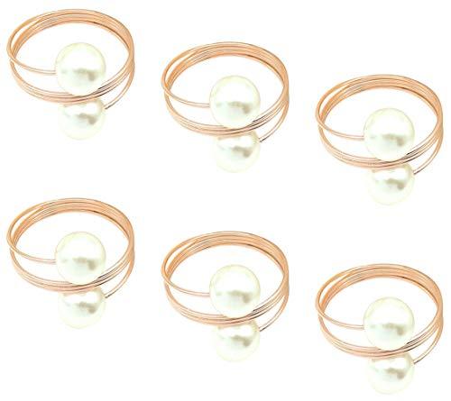 CYJZHEU Serviettenringe Perlen, 6 Stück Serviettenringe Rosegold Serviettenringe Metall für Hochzeit Bankett Jubiläum Thanksgiving Weihnachtsfeier Tischdekoration Ostern Elegante moderne Geschenkideen